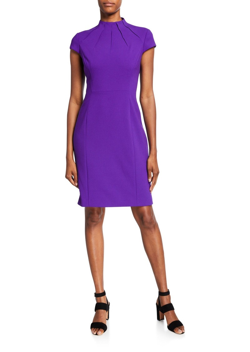 Elie Tahari Freida Pleated Mock-Neck Dress
