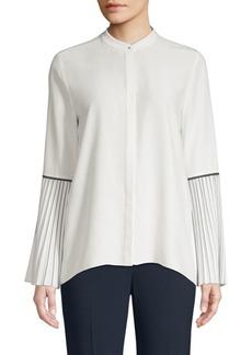 Elie Tahari Frida Pleated-Sleeve Silk Blouse