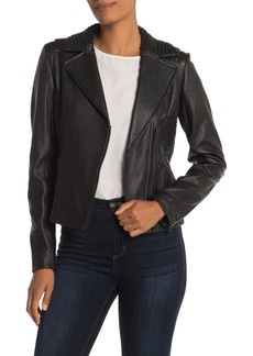 Elie Tahari Friva Studded Lambskin Leather Jacket
