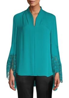 Elie Tahari Gaia Lace Trim Silk Blouse