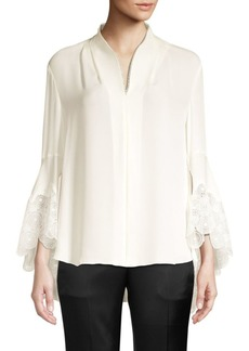 Elie Tahari Gaia Lace-Trimmed Silk Blouse