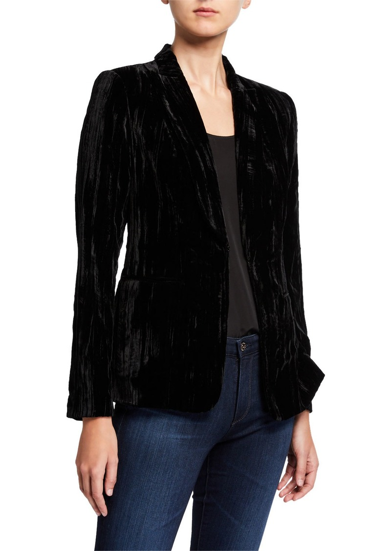 Elie Tahari Gemini Velvet One-Button Jacket
