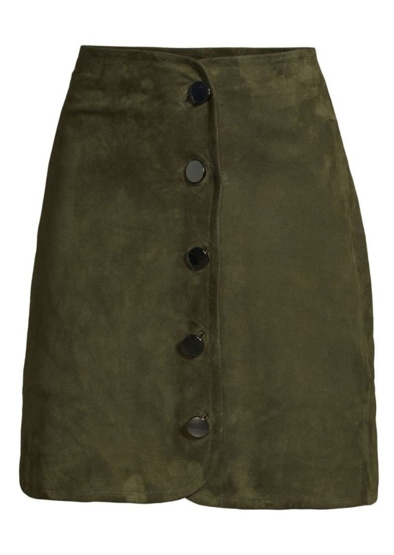 Elie Tahari Ginger Button-Front Stretch Suede A-Line Skirt