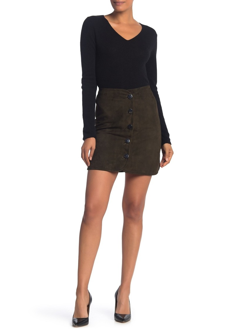 Elie Tahari Ginger Suede Button Front Mini Skirt