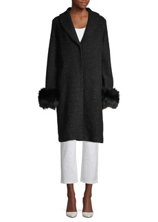 Elie Tahari Grace Blue Fox Fur-Trimmed Coat