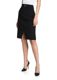 Elie Tahari Gracelyn Belted Crepe Pencil Skirt with Front Slit