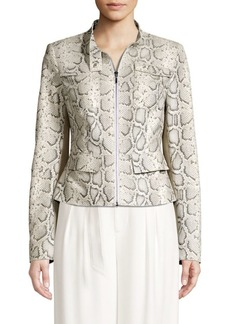 Elie Tahari Gwewn Snakeskin-Embossed Jacket