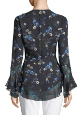 Elie Tahari Halima V-Neck Long-Sleeve Ruffled Floral-Print Silk Blouse
