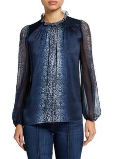 Elie Tahari Hanna Snake-Print Blouson-Sleeve Silk Blouse