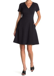 Elie Tahari Harley Textured V-Neck Fit & Flare Dress