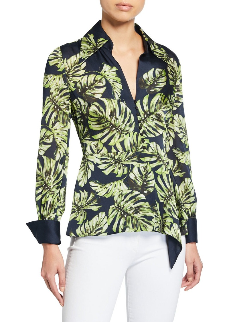 Elie Tahari Haylee Leaf-Print Long-Sleeve Silk Blouse