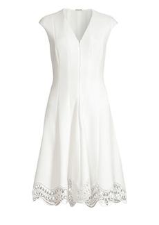 Elie Tahari Hedi Front-Zip Cap Sleeve Dress
