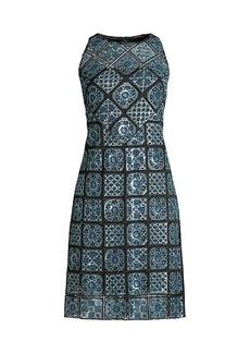 Elie Tahari Helena A-Line Embroidery Dress