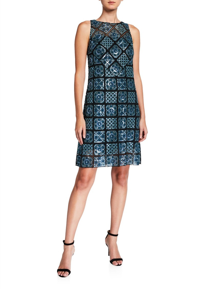Elie Tahari Helena Mosaic Tile Sleeveless Sheath Dress
