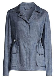 Elie Tahari Helga Linen-Blend Utility Jacket