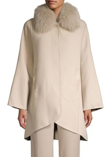 Elie Tahari Home Fox Fur Collar Wool-Blend Coat