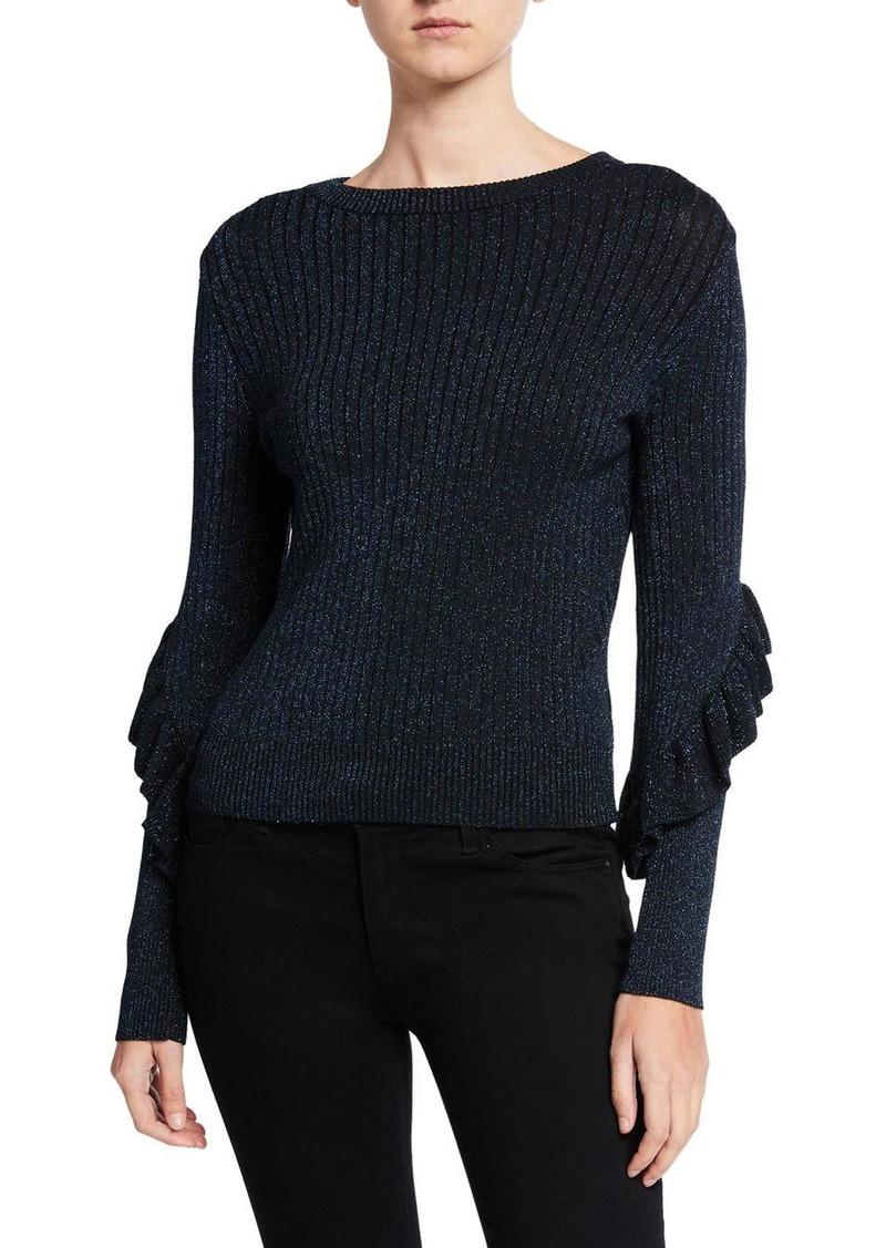 Elie Tahari Hope Ruffle Long-Sleeve Sweater