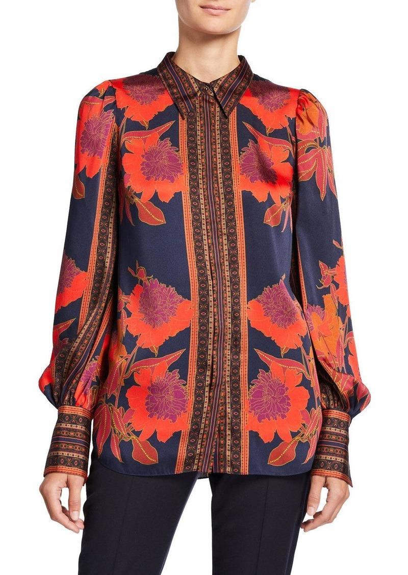 Elie Tahari Ingunn Floral-Print Blouson-Sleeve Blouse