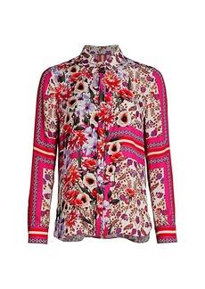 Elie Tahari Ingunn Floral Silk Shirt