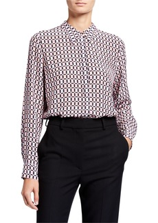 Elie Tahari Ingunn Geo Long-Sleeve Button-Down Shirt
