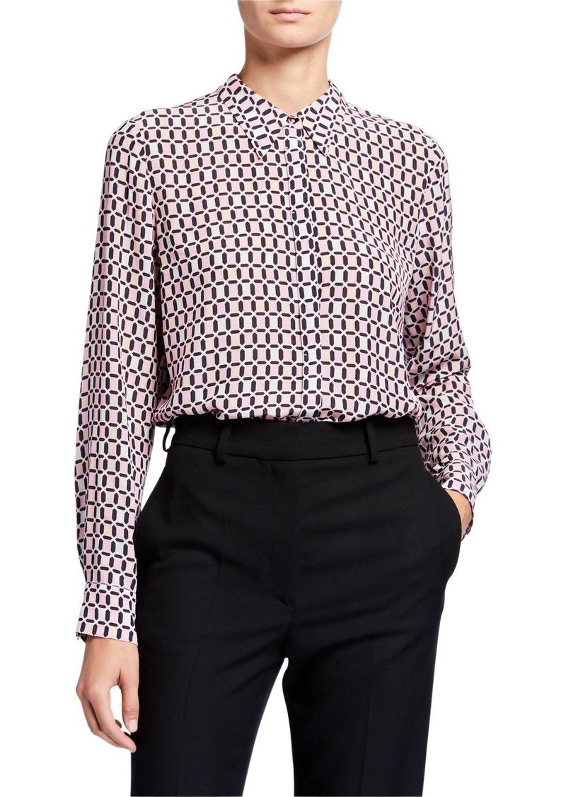 Elie Tahari Ingunn Geo Long-Sleeve Button-Down Shirt