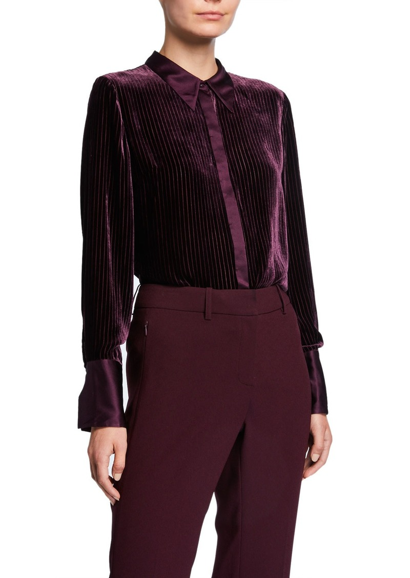 Elie Tahari Ingunn Pleated Long-Sleeve Button-Down Blouse