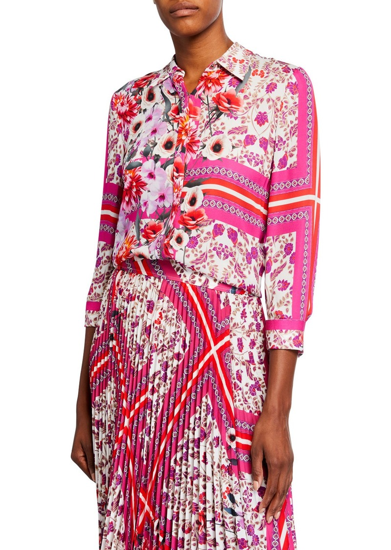 Elie Tahari Ingunn Printed Silk Button-Down Shirt