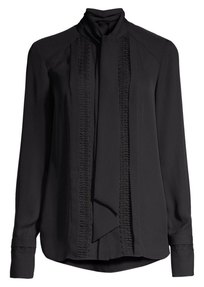 Elie Tahari Inna Embroidered Tieneck Silk Blouse