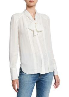 Elie Tahari Inna Tie-Neck Long-Sleeve Silk Blouse