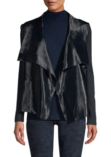 Elie Tahari Iona Calf Hair & Merino Wool Leather-Trim Drape Front Jacket