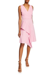 Elie Tahari Isa Sleeveless Asymmetric Flounce Dress