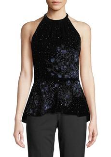 Elie Tahari Isabeth Floral-Beaded Embellished Velvet Halter Top