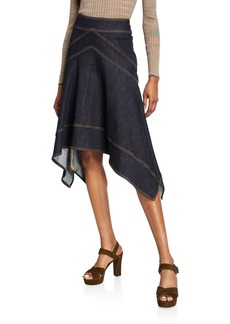 Elie Tahari Ivy Handkerchief Denim Skirt