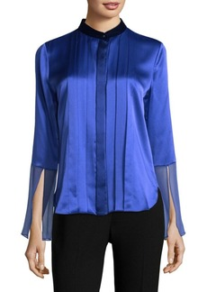 Elie Tahari Izarra Pleated Silk Blouse