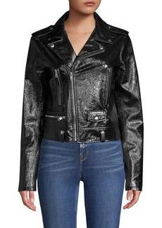 Elie Tahari Jacalyn Patent Leather Moto Jacket