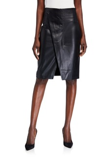 Elie Tahari Jade Faux-Leather Wrap Front Skirt