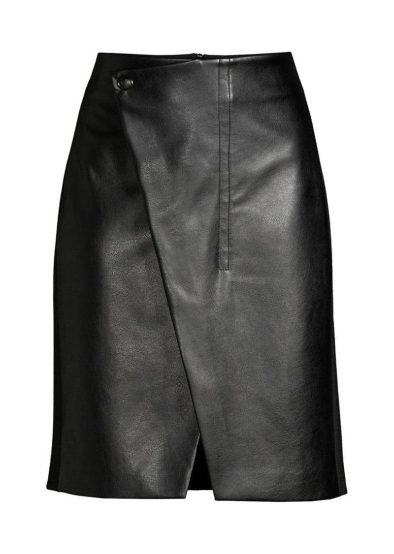 Elie Tahari Jade Faux-Leather Wrap Skirt
