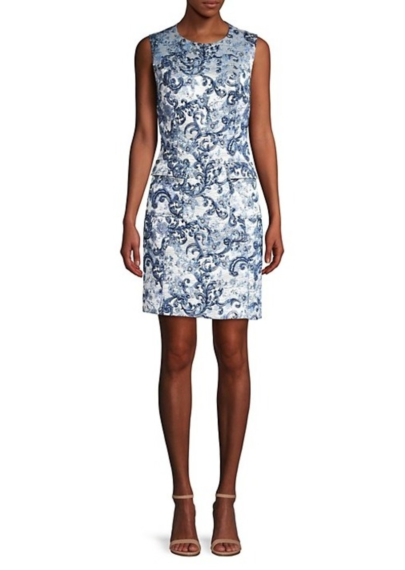 Elie Tahari Jaelyn Matelassé Jacquard Sheath Dress