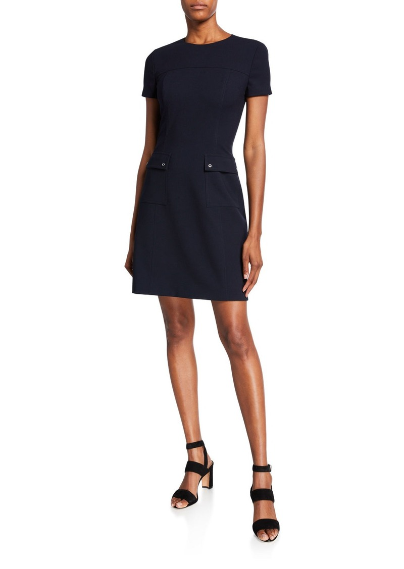 Elie Tahari Jaelyn Short-Sleeve Dress with Pockets