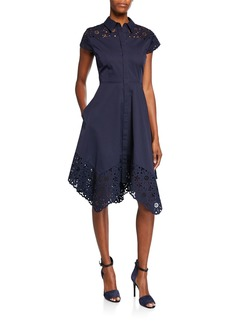Elie Tahari Jane Button-Down Cap-Sleeve Shirtdress with Floral Lace