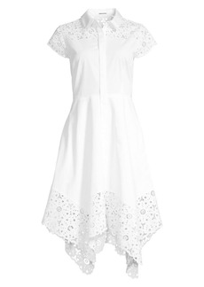 Elie Tahari Jane Lace Detail Cotton Poplin Dress