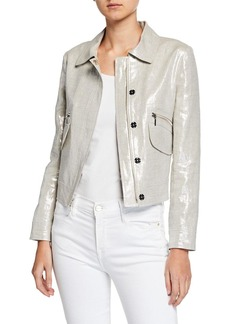 Elie Tahari Jaquelyn Metallic-Linen Zip-Front Crop Jacket