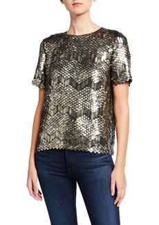 Elie Tahari Java Paillette Embellished Short-Sleeve Shirt