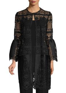 Elie Tahari Jaya Lace Satin Bell-Sleeve Coat