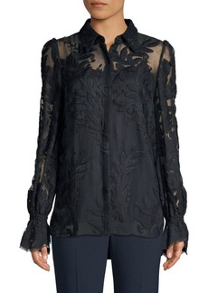 Elie Tahari Jayda Embroidered Sheer Blouse