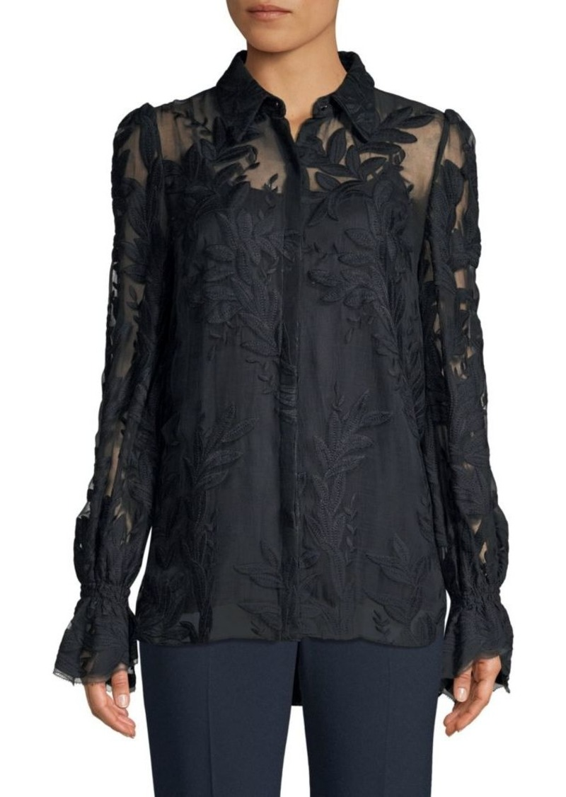 31a08d5115fb Elie Tahari Jayda Embroidered Sheer Blouse | Casual Shirts