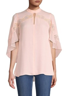 Elie Tahari Jaylah Lace Detail Silk Blouse