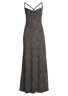 Elie Tahari Jazzie Cowl Back Sequin Gown
