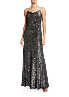 Elie Tahari Jazzie Metallic Cowl-Neck Sleeveless Gown