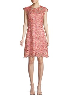 Elie Tahari Jelena Floral Crochet Shift Dress